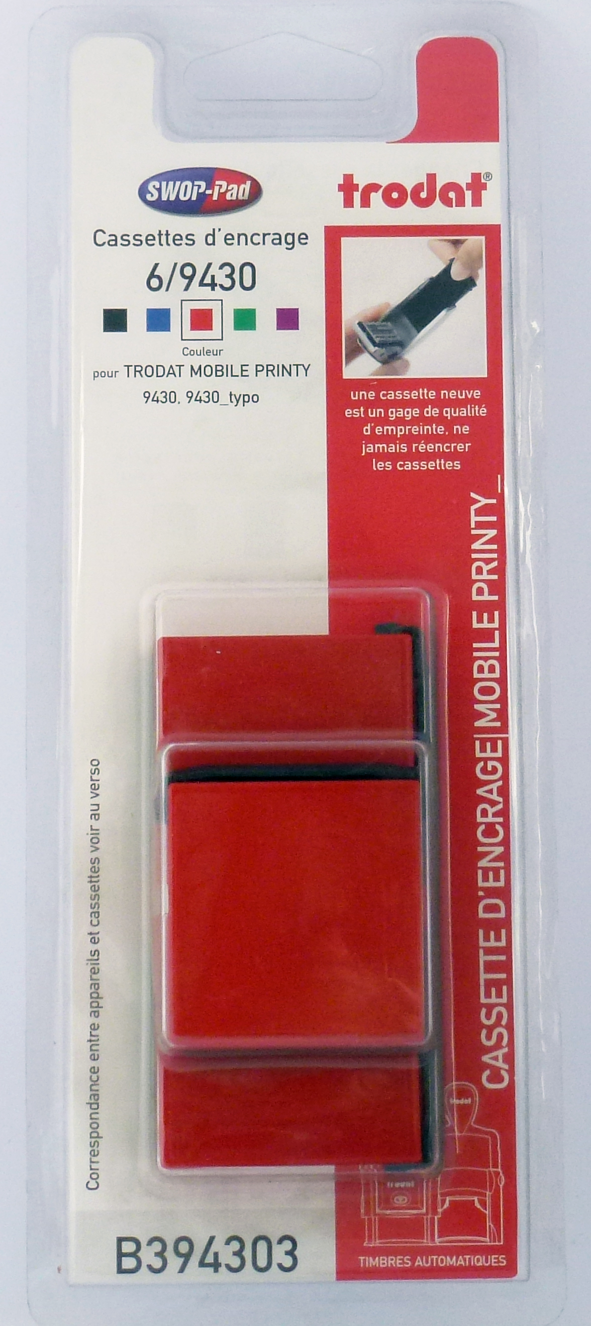Trodat - 3 Encriers 6/9430 recharges pour tampon Mobile Printy 9430 - rouge