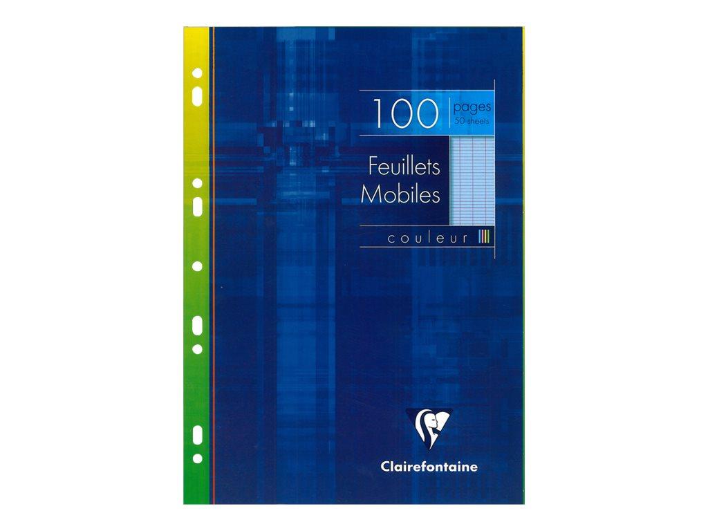 Clairefontaine - 100 feuilles simples A4 - grands carreaux - perforées - bleu