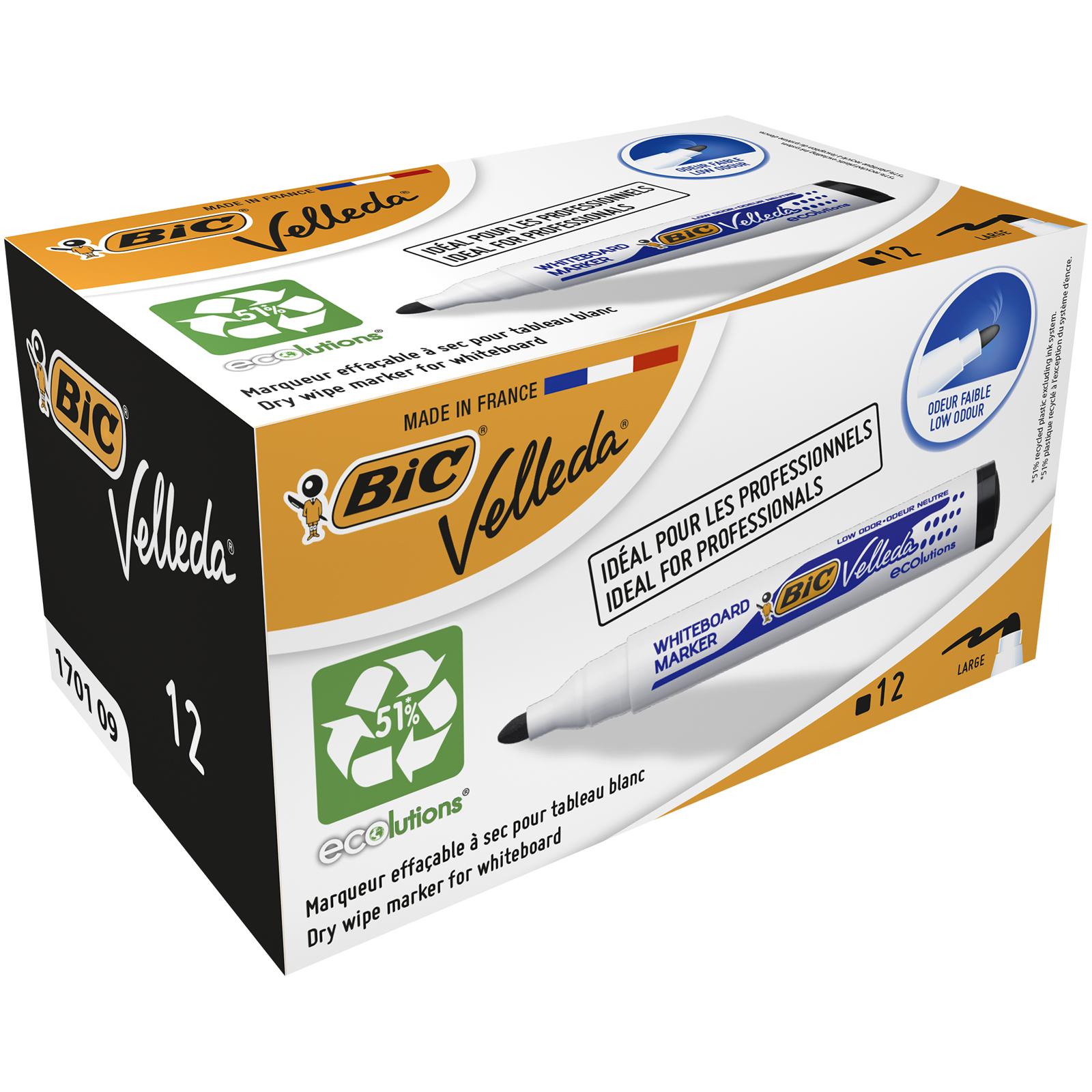 BIC VELLEDA 1701 - Pack de 12 marqueurs effaçables - pointe ogive - noir