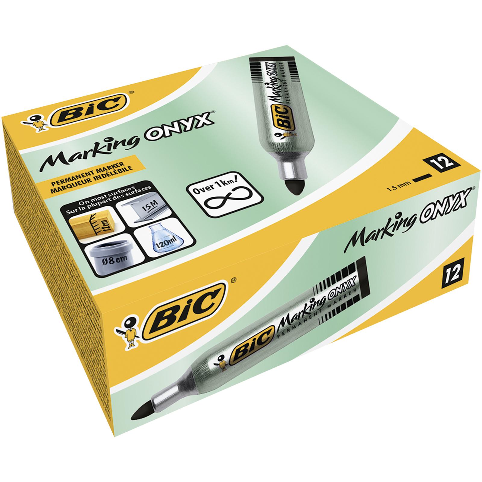 BIC ONYX 1482 - Pack de 12 - Marqueurs permanents - pointe ogive - noir