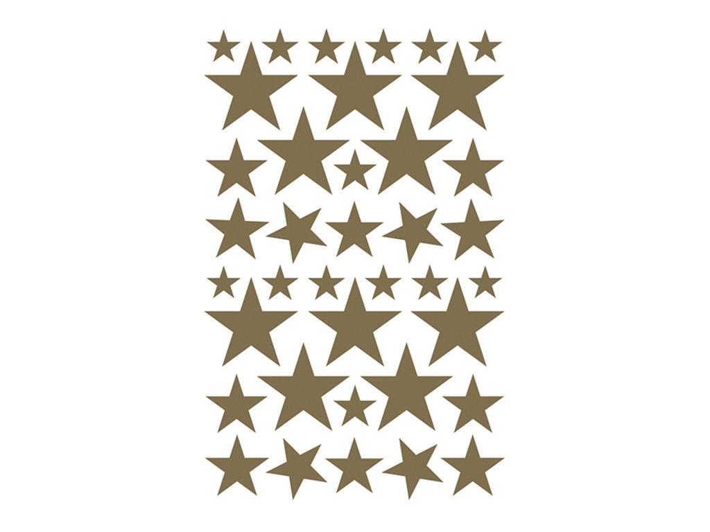 Maildor - 4 feuilles gommettes étoiles - or et argent